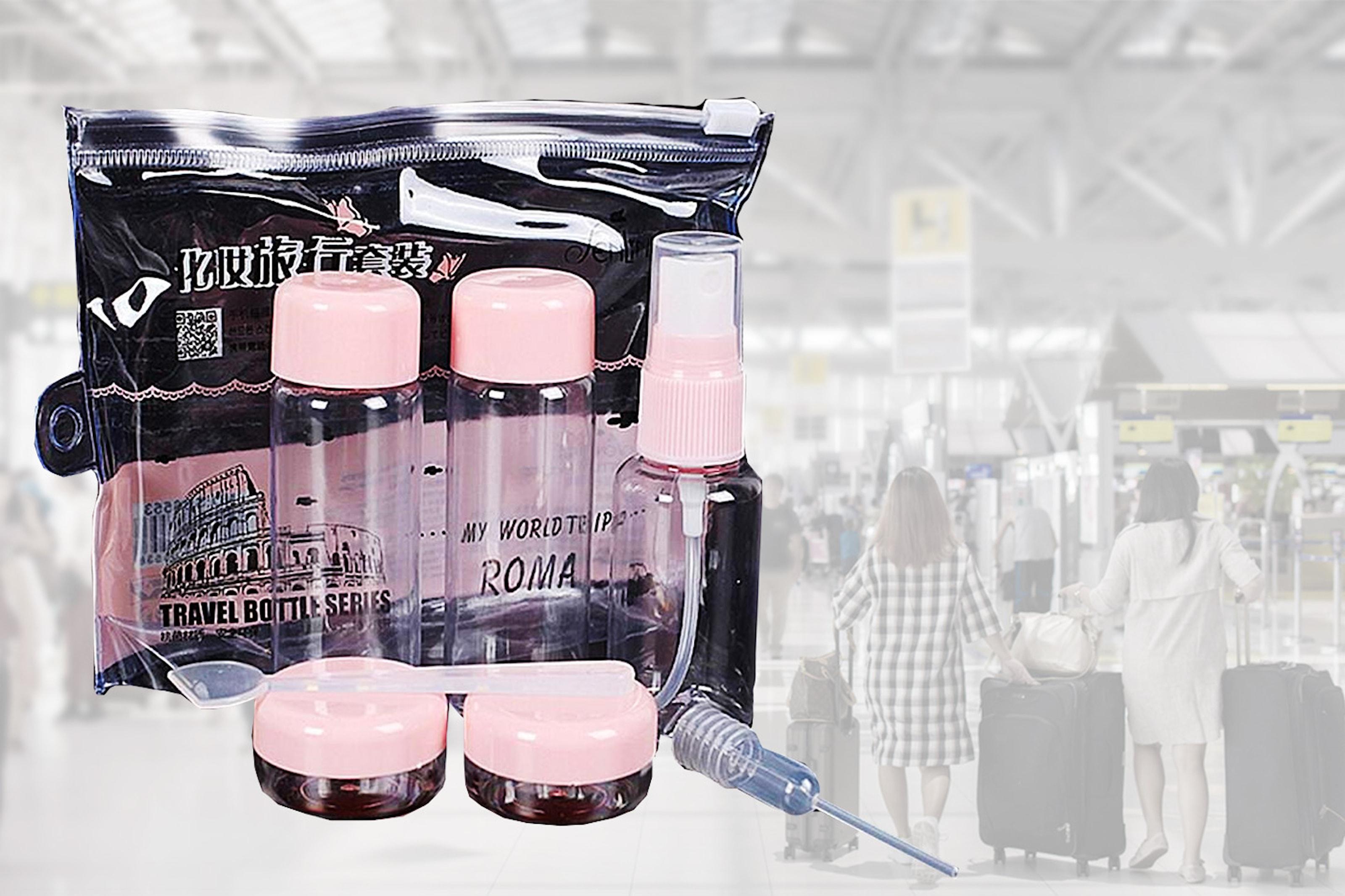 7-delers kosmetisk reisesett