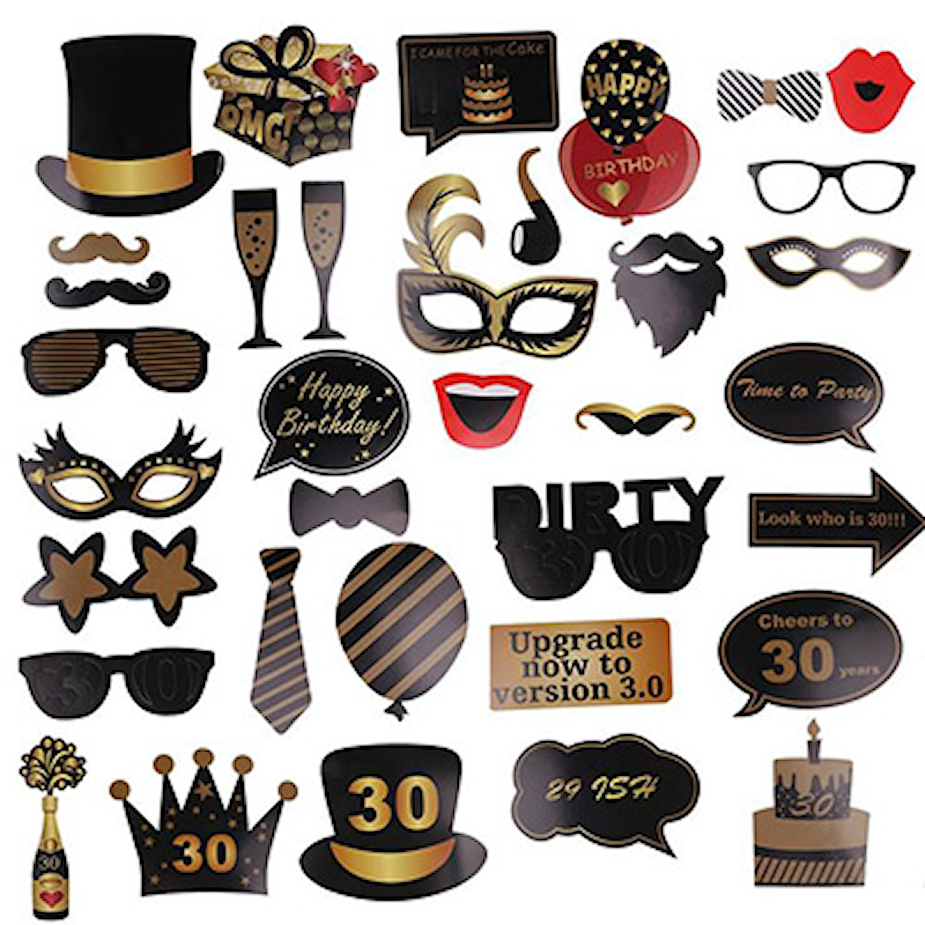 30th, Photo Booth Accessories, Photo Booth rekvisitter, ,